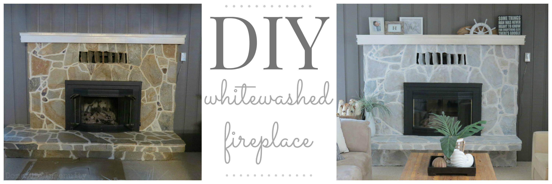 DIY Whitewashed Fireplace |